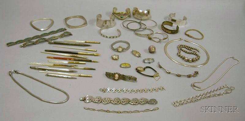 Lot of Assorted Silver Bracelets and Necklaces, a Group of Quill Pens and Mechanical Pencils, and a Group of Se...