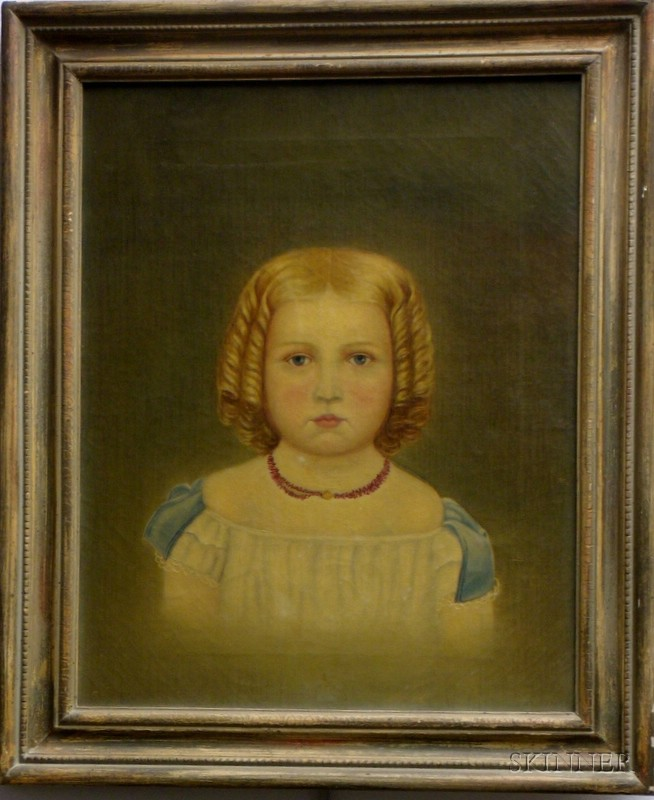 Framed 19th Century American School Oil on Canvas Portrait of Young Child with   Blonde Curls and a Coral Necklace