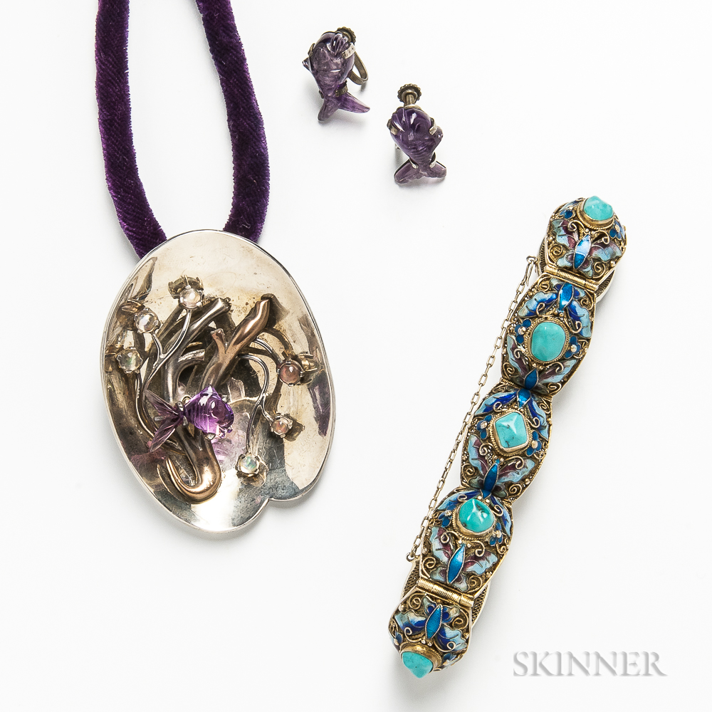Mexican Sterling Silver and Hardstone Pendant/Brooch, Similar Amethyst Earclips, and a Gilt-silver, Enamel, and Turquoise Bracelet