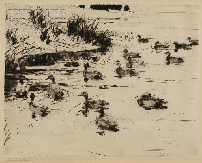 Frank Weston Benson (American, 1862-1951)      Ducks at Play