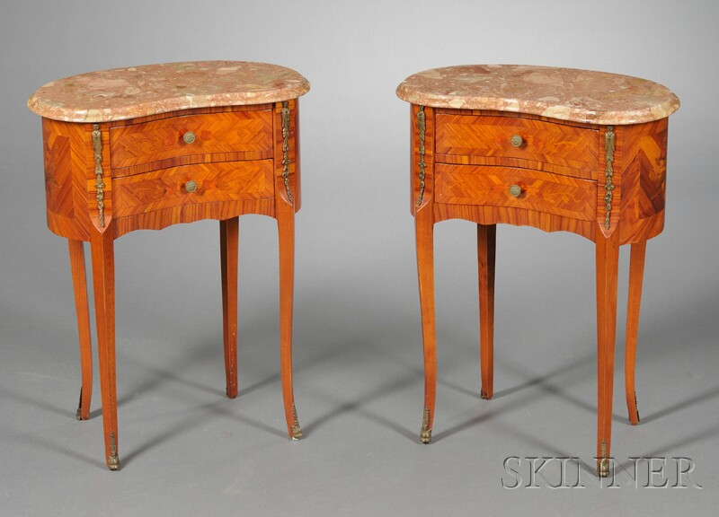 Pair of Kidney-shaped, Marble-top, Bronze-mounted Side Tables