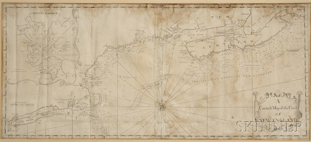 New England, Coastal Chart. Cyprian Southack (1662-1745) A Correct Map of the Coast of New England.