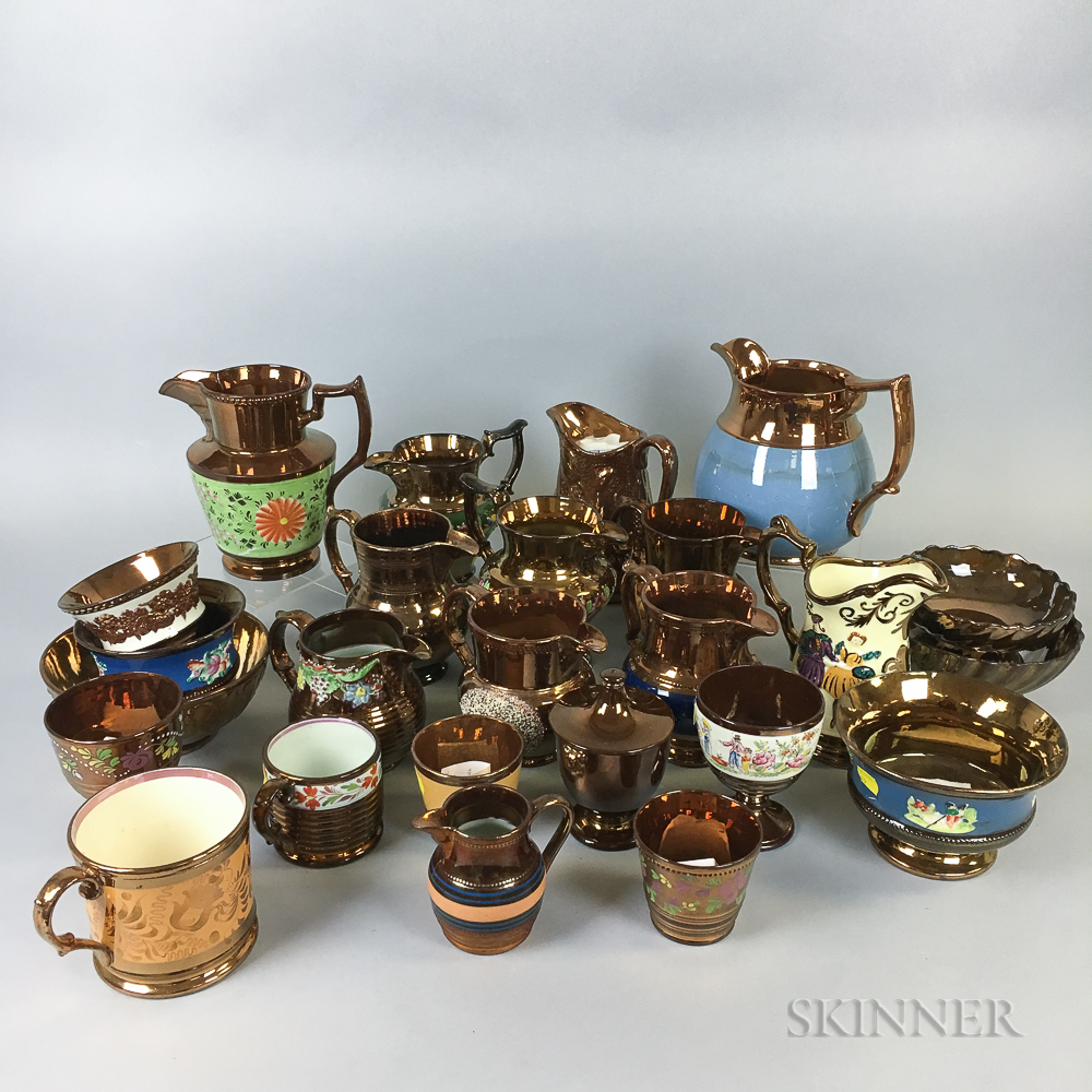 Twenty-five Copper Lustre Ceramic Vessels.     Estimate $20-200