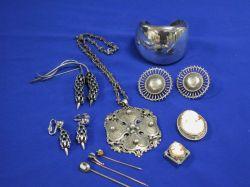 Peruzzi Silver Necklace, Mexican Cuff Bracelet, Danecraft Earrings, Cameos, etc.