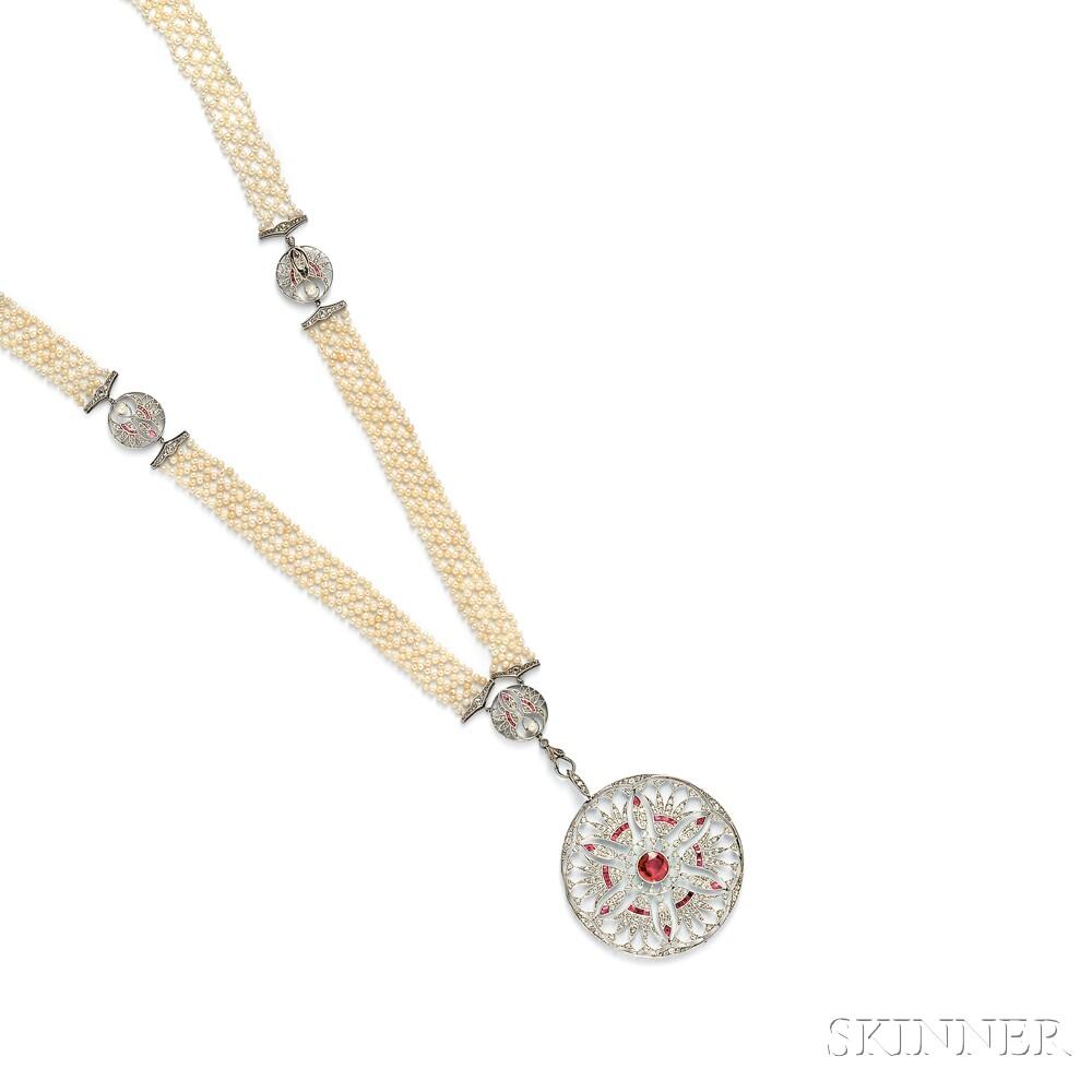 Edwardian Platinum, Ruby, Diamond, and Pearl Sautoir