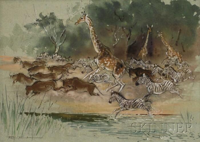 Ralph Thompson (British, 20th Century)      African Animals on the Run