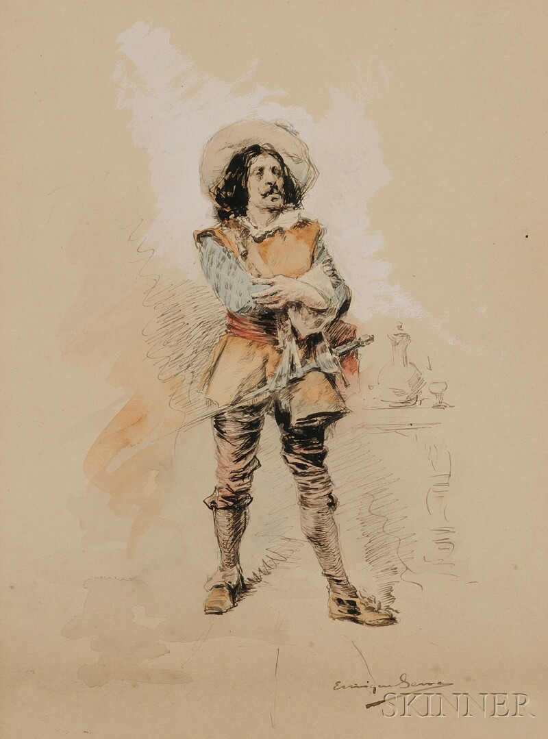 Enrique Serra y Auque (Spanish, 1859-1918)      Sketch of a Cavalier