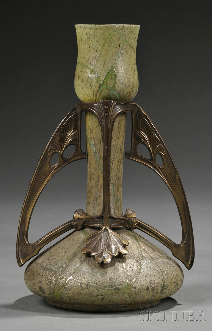 Loetz-style Art Nouveau Glass and Gilt-metal Vase