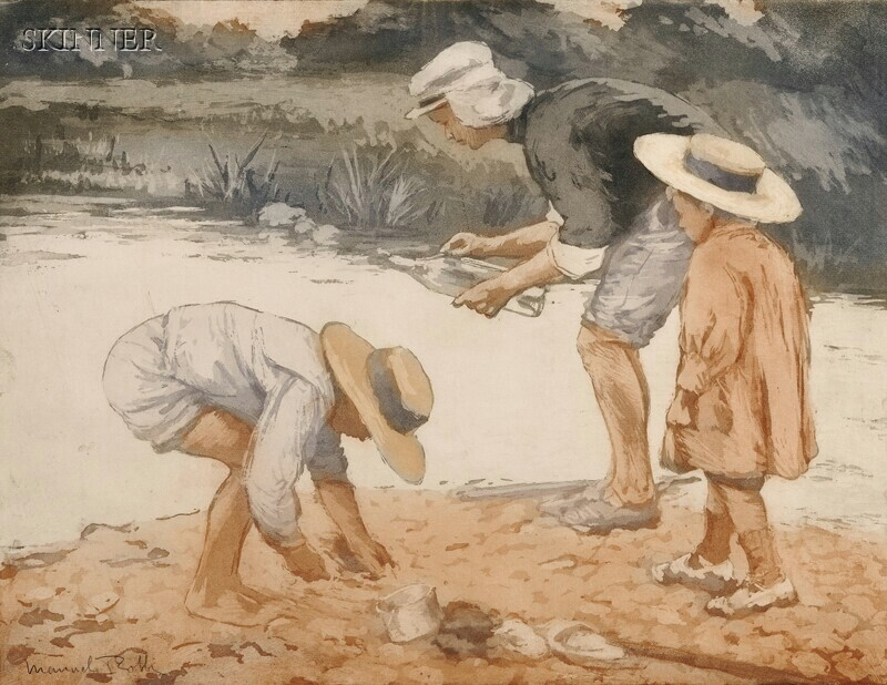 Manuel Robbe (French, 1872-1936)      Combing the Shore.