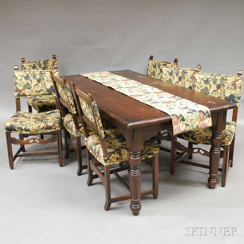 Jacobean-style Oak Table and Seven Chairs