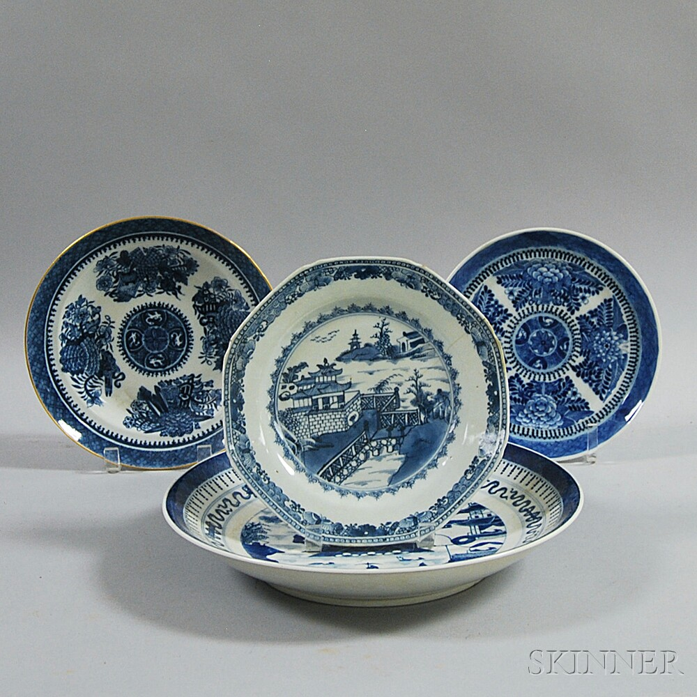 Four Chinese Export Porcelain Blue and White Plates