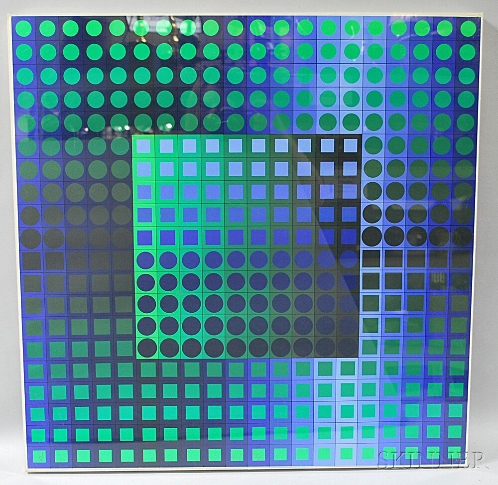 Victor Vasarely (French/Hungarian, 1906-1997)      Abstract Geometric Composition.