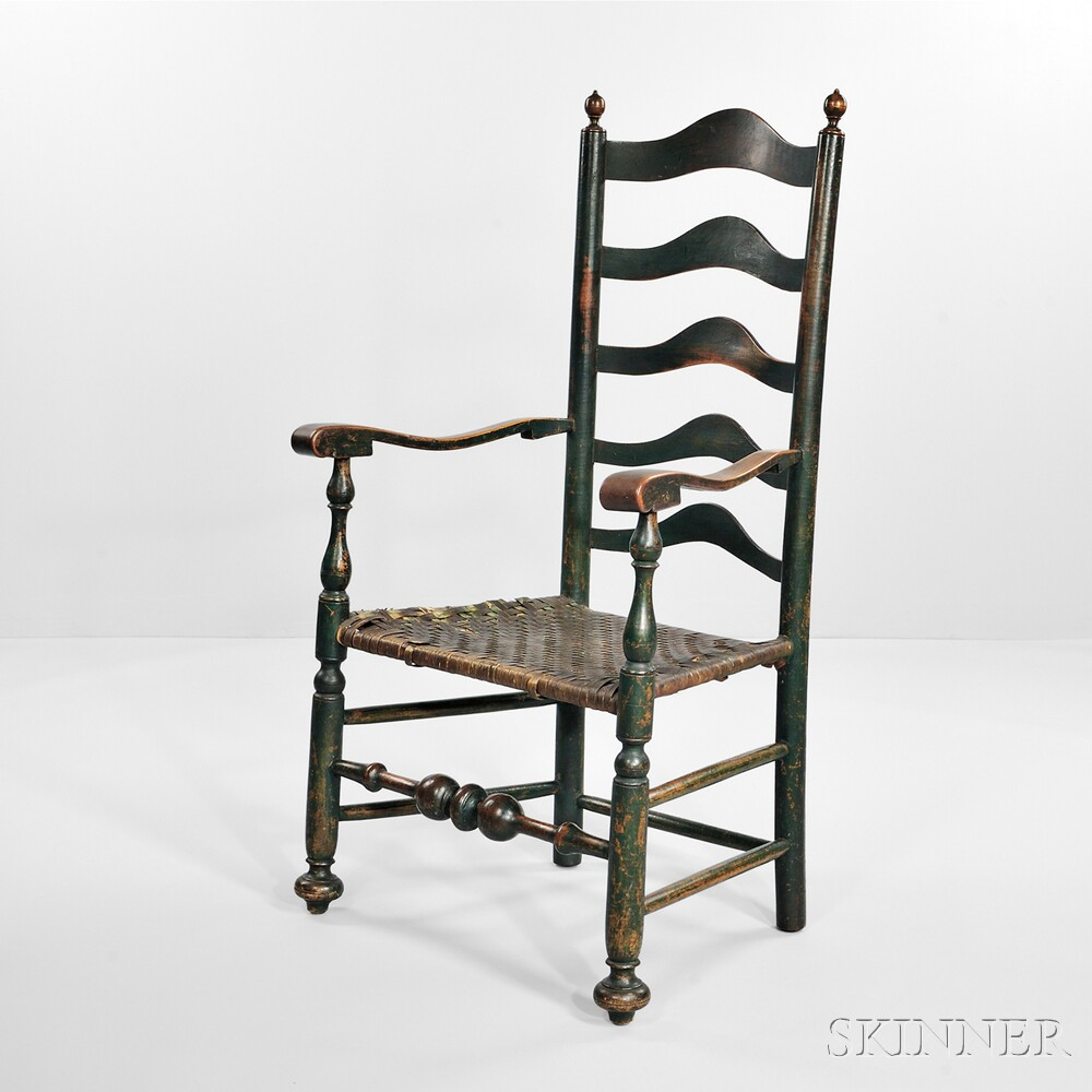 Blue-green-painted Slat-back Armchair
