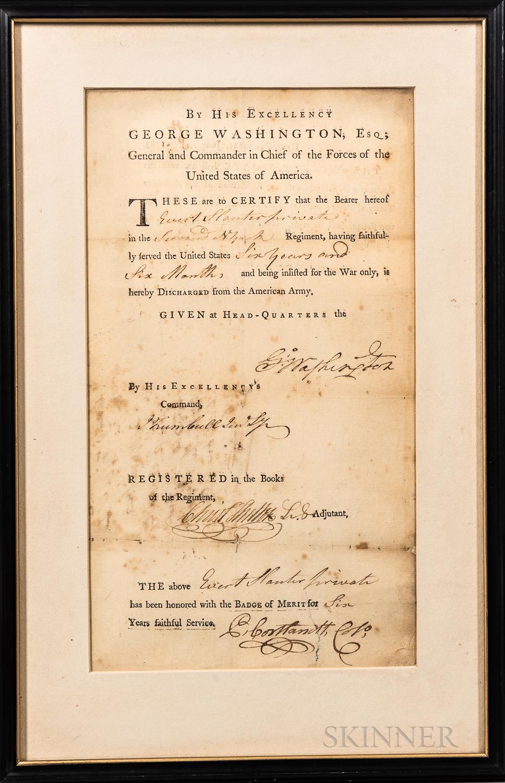Washington, George (1732-1799) Printed Revolutionary War Discharge Form.