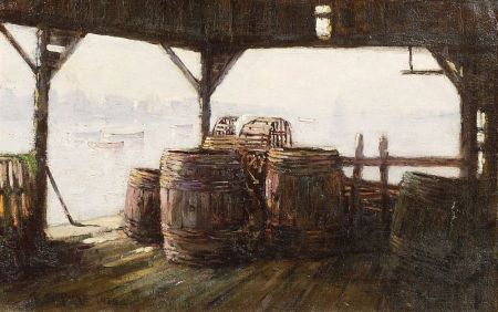 Edward A. Page (American, 1850-1928)    Fisherman's Beach, Swampscott/A Fish House View