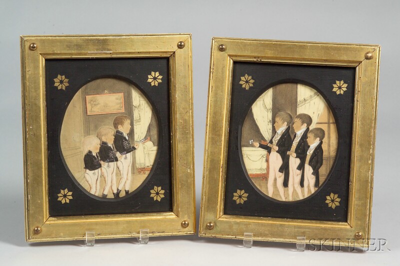 American/French School, 19th Century Pair of Memorial Pictures Six Boys...