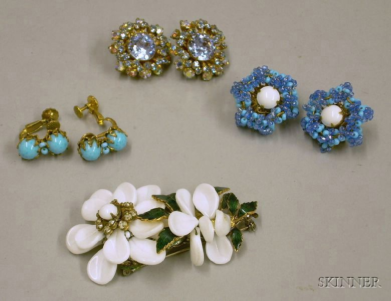 Miriam Haskell Brooch and Three Pairs of Miriam Haskell Earclips, 1950s