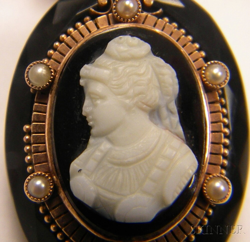 10kt Gold, Gilt-metal, and Hardstone Cameo Pendant Necklace and Ring