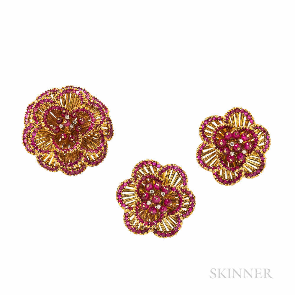 Toliro 18kt Gold, Ruby, and Diamond Earclips and Brooch