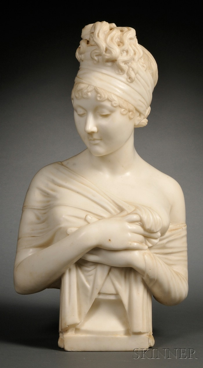 Marble Bust of Madame Recamier After Joseph Chimard