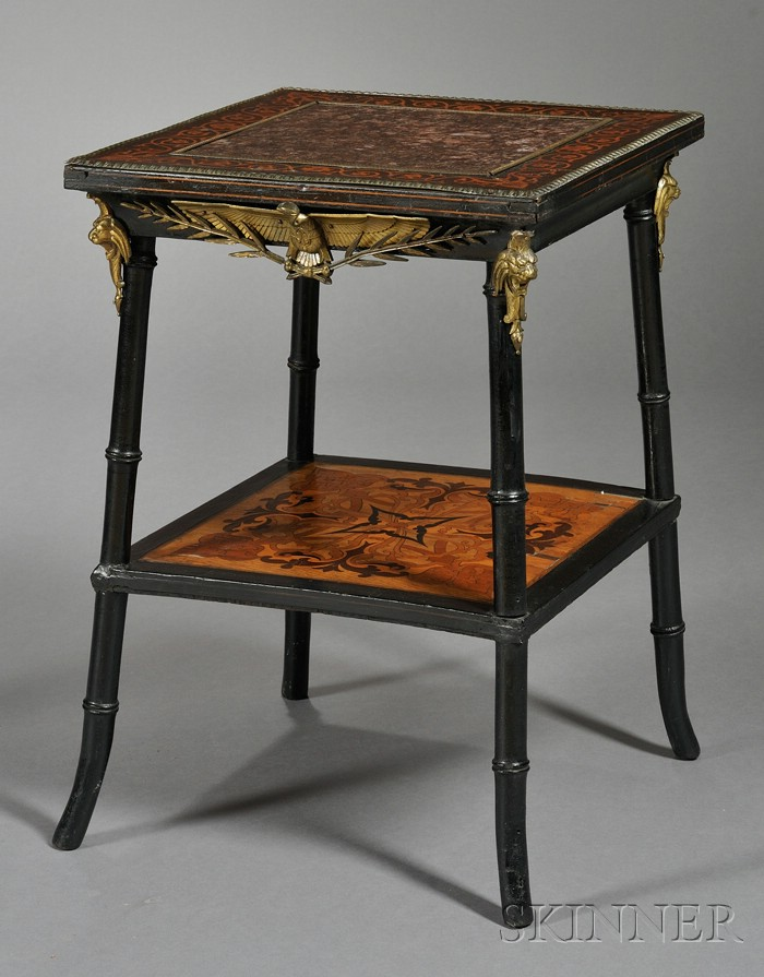 Aesthetic Movement Fruitwood-inlaid, Ebonized and Bronze-mounted Marble-top Table