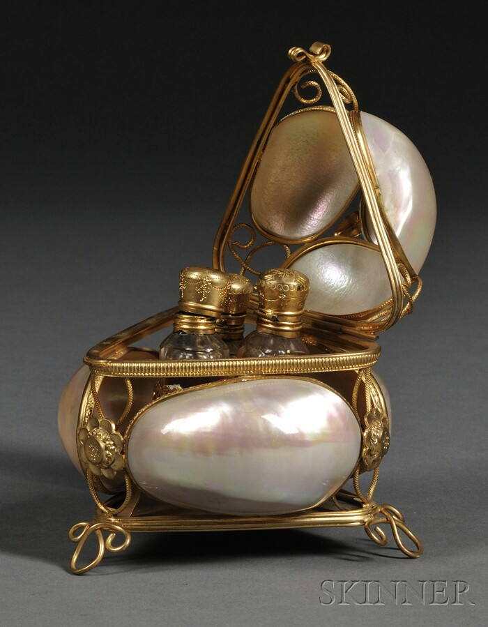 French Mother-of-pearl and Ormolu Scent Box