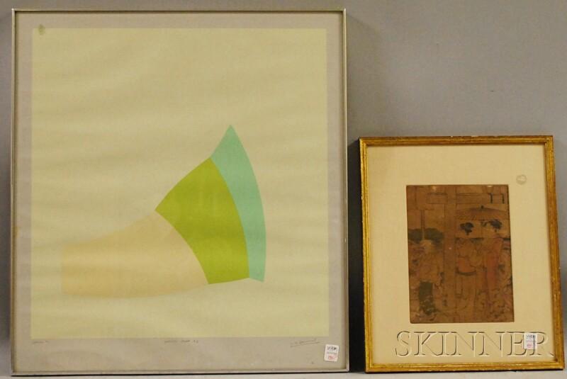 W.D. Bannard Screenprint Spring #1   and a Japanese Woodblock Print
