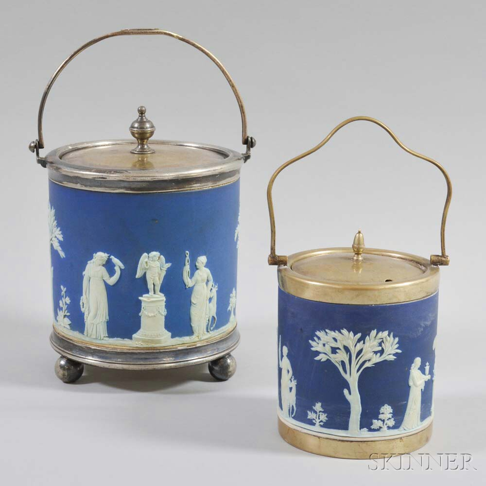 Two Wedgwood Blue Jasper Biscuit Jars