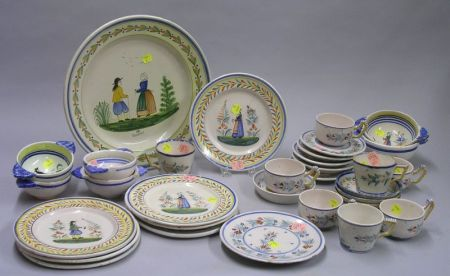Approximately Thirty-three Pieces of Quimper Tableware.