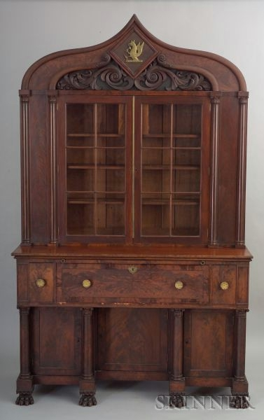 Gothic Revival Mahogany Veneer and Carved Desk and Bookcase