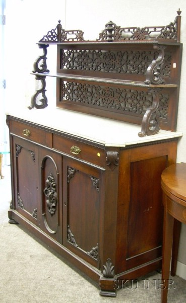 Victorian White Marble-top Carved Rosewood and Rosewood Veneer Sideboard with Tiered Fretwork Backsplash.e2...