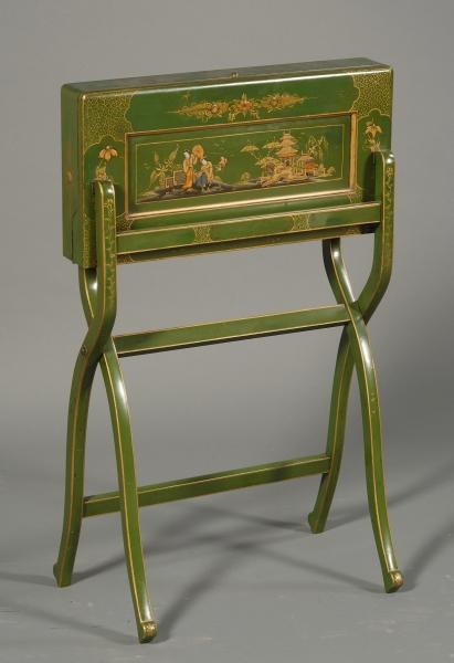 Victorian Green Japanned Folding Box