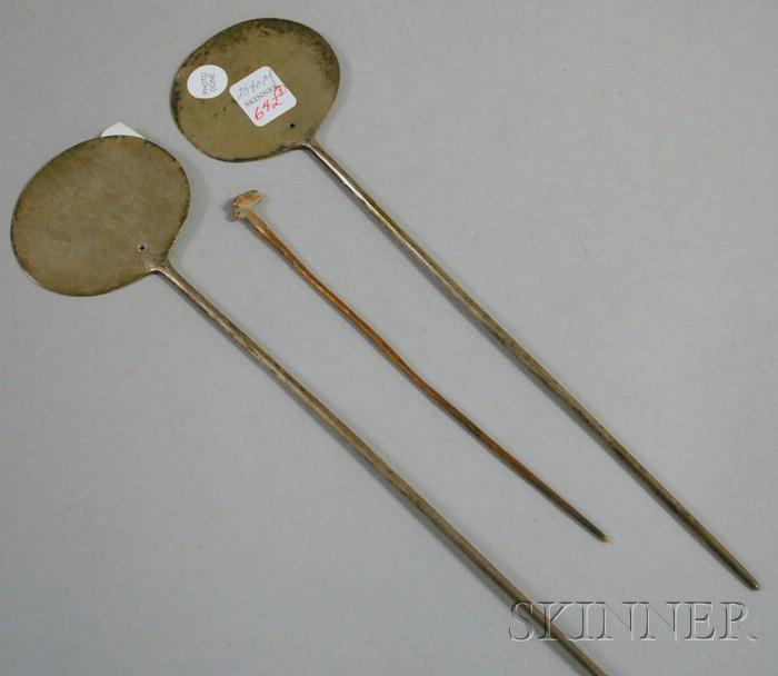 Three Tupus Silver Pins and Copper Animal-head Pin.