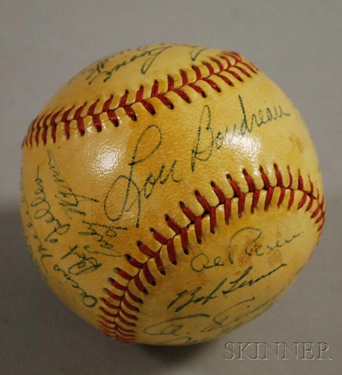 1950 Cleveland Indians Autographed Baseball