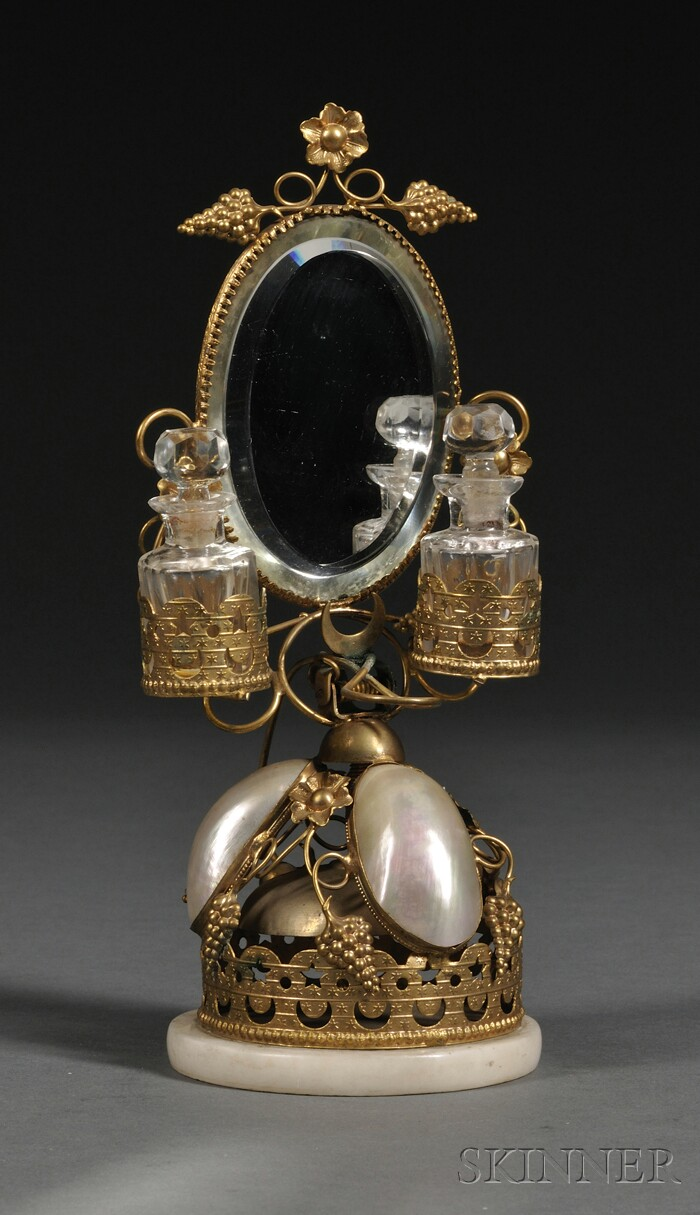 French Mother-of-pearl and Ormolu Scent Stand with Mirror and Bell