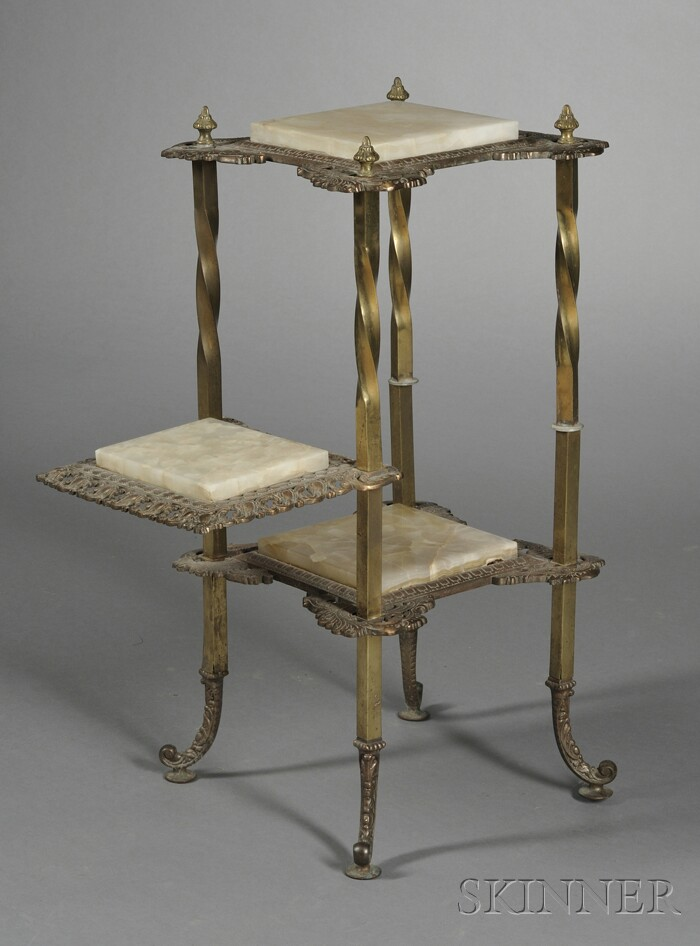 Victorian Onyx and Brass Three-tier Plant Stand