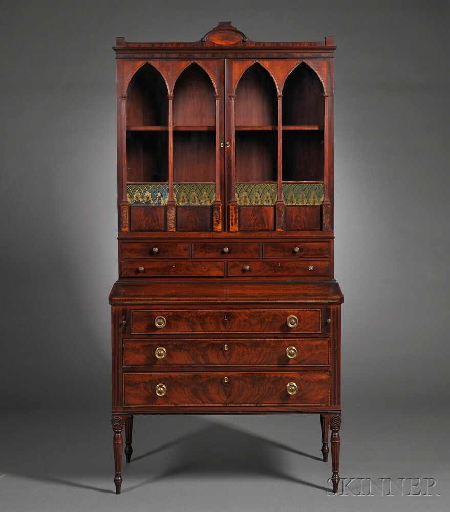 Federal Mahogany Carved And Inlaid Lady S Secretary