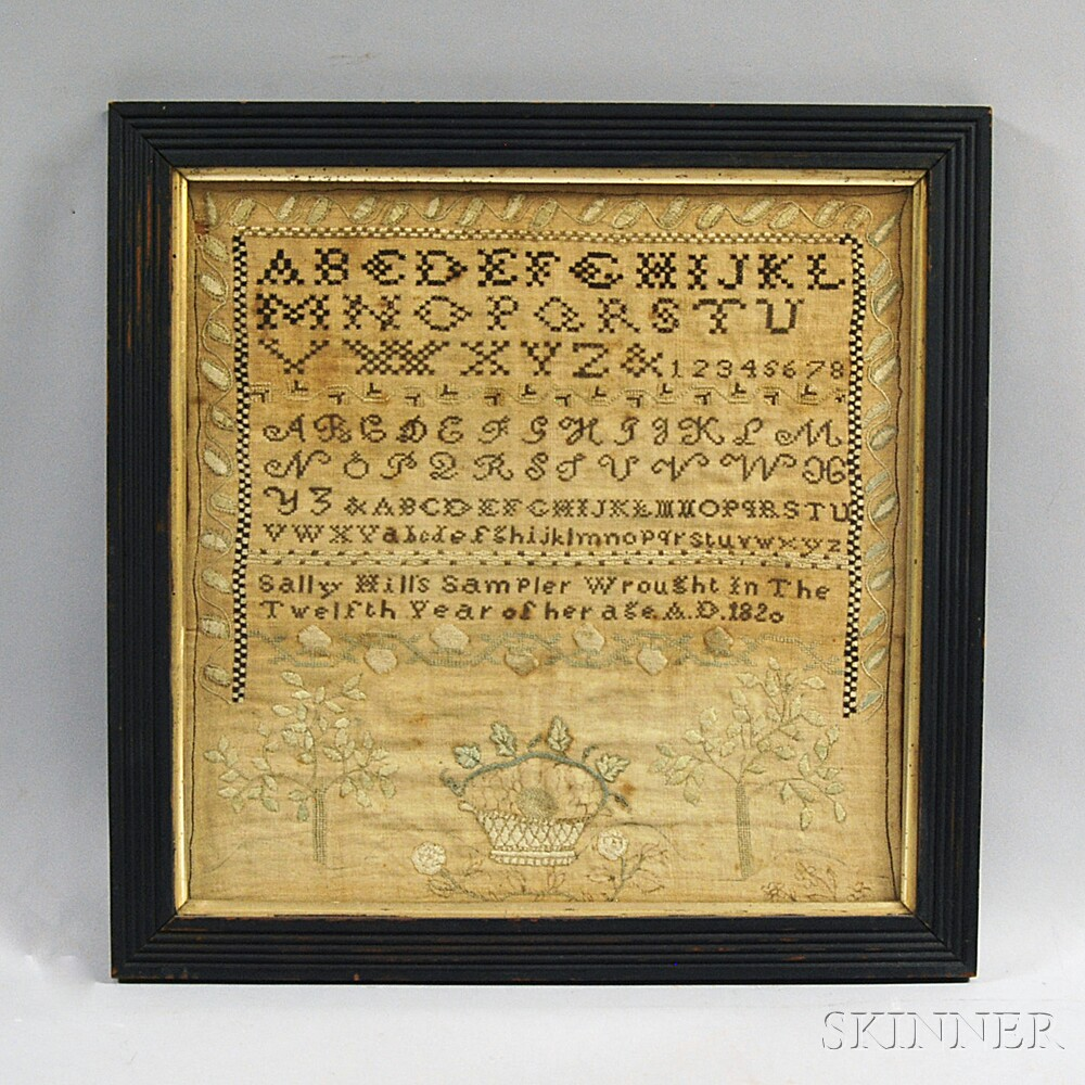 "Framed Needlework Sampler ""Sally Hill,"""