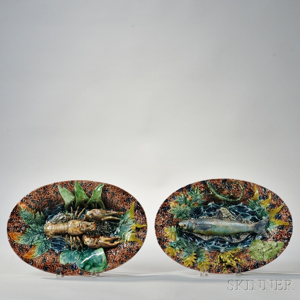 Pair of Thomas Sergent Palissy Ware Dishes