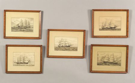 American School, 19th Century  Five Illustrations of Sailing Vessels.