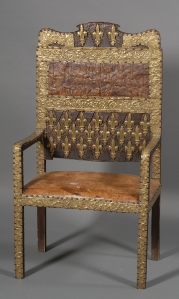 "French Renaissance Style Repousse Brass-mounted and Leather ""Great Chair"""