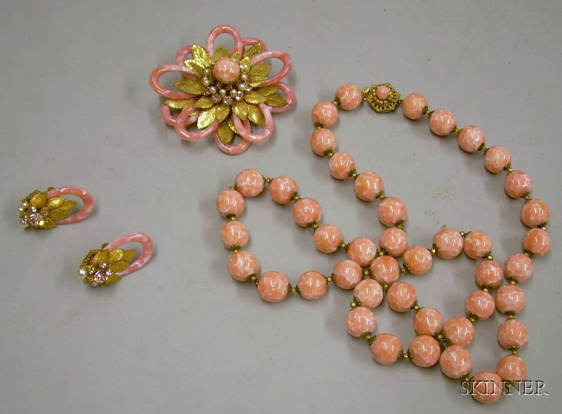 Miriam Haskell Brooch, Earclips, and Necklace Suite, 1960s
