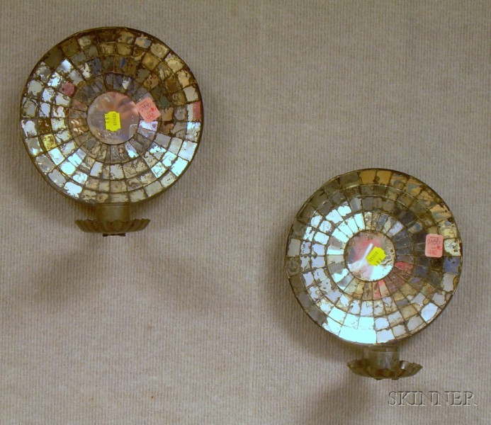 Pair of Mirrored Tin Wall Candle Sconces.