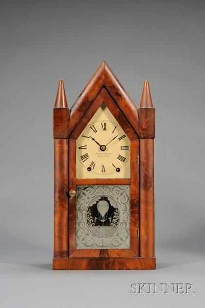 "Mahogany Sharp Gothic or ""Steeple Clock"" by Brewster & Ingrahams"