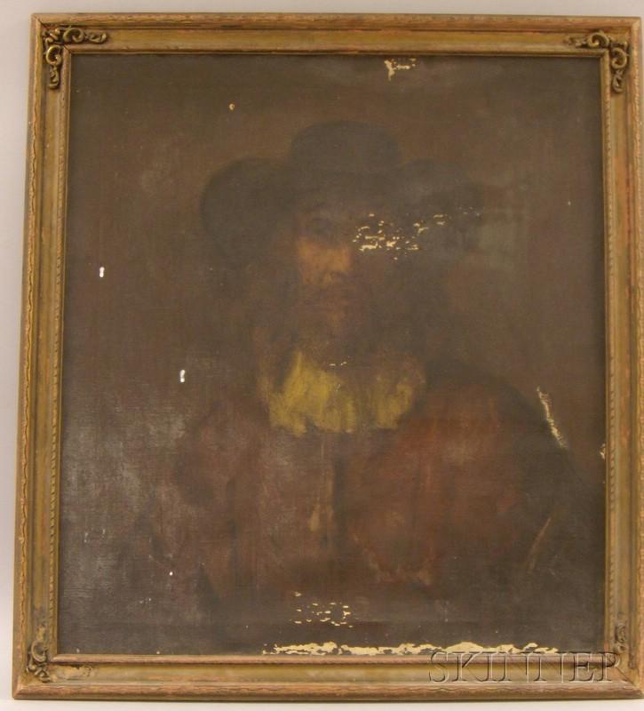 Framed Oil on Canvas Portrait of a Man by Dimitri Romanovski (American, d. 1971), After Rembrandt Harmensz...