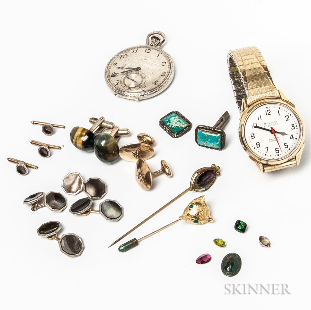 Group of Men's Accessories and Unmounted Gemstones