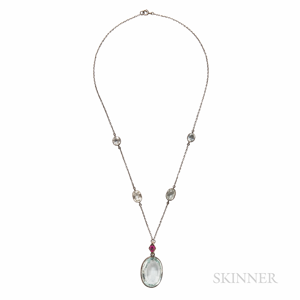 Antique Silver and Aquamarine Necklace