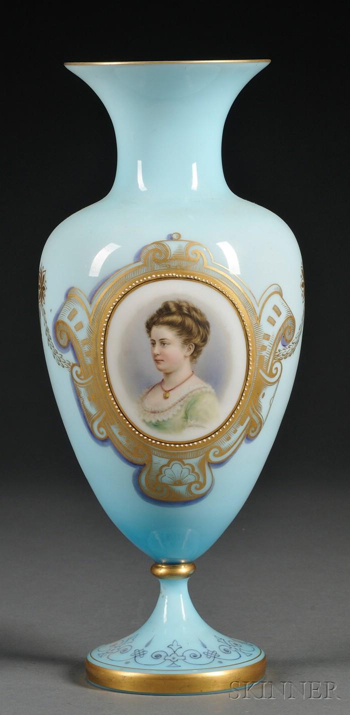 Enamel Decorated Bristol Glass Vase