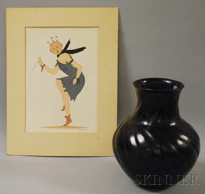 Justin Herrera Southwest Watercolor of a Mud-Dancer and a Southwest Black-on-Black Pottery Vase.