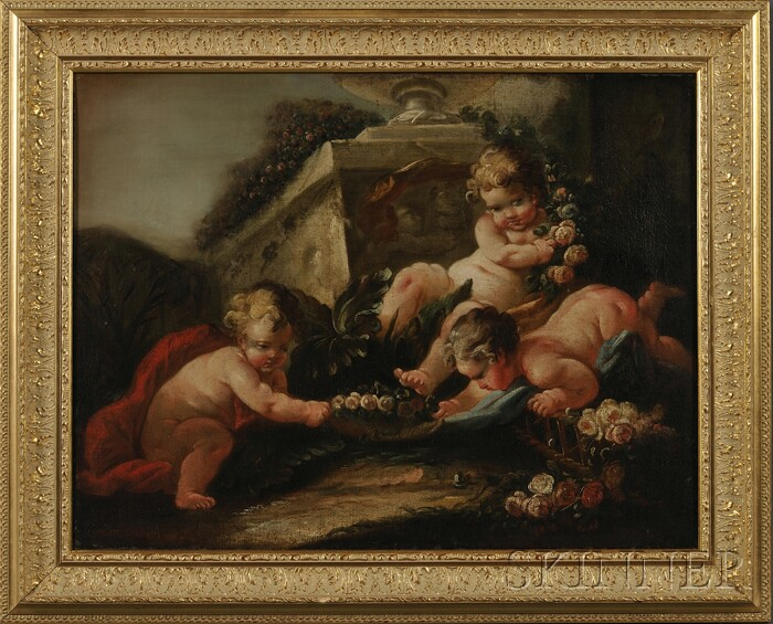French School,  18th Century      Putti with Roses
